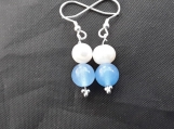 Sterling Silver freshwater pearl and aquamarine earings, aquamarine is the birthstone for march.