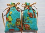 """Turquoise 4""""X2"""" Sachet-'Peach Delight' Fragrance-Owl Sachet-241"""