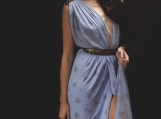 Blue Floral Draped Greecian Goddess Dress - X-SM