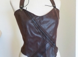 Desert Warrior Brown Pleather Fitted Halter Top - Medium