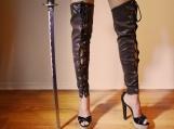 Desert Warrior Faux Leather Lace Up Leg Wear - Brown