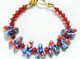 Gorgeous Bracelet Glass Faceted Red White & Blue Daggers, Czech