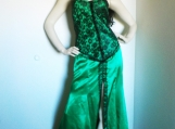 Green Gothic Satin & Black Lace Corset Dress (M)