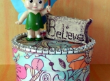 Miniature Fairy Figure, Believe Message, Paper Mache Trinket Box