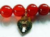 Red Carnelian Stone Bracelet, Heart Lock Charm, Swarovski Crysta