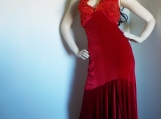 Red Stretch Velvet Embroidered Halter Dress ( M )