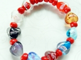 Stretch Bracelet, Murano Glass Heart Beads, Red Glass Beads