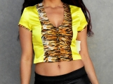 Yellow Satin Tiger Crop Top (S,M