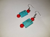 Beautiful pair of turquoise and red earrings turquoise earrings red earrings handmade earrings