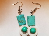 Beautiful white and turquoise dangle drop earrings turquoise earrings white earrings