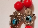 Pair hamsa and evil eye protection earrings evil eye earrings protection hamsa evil eye and red beads earrings
