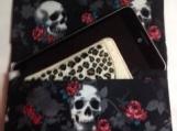 Skull/ Rose Fabric Clutch or Tablet/Reader Case