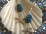 Starfish with blue crazy lace stone earrings