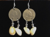 Tongan coin and cowery shell earings