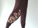 Lotus Printed on 100% Rayon Wide Leg, So Cool Fabric, Yoga Pants  made from 100 Rayon (R012)