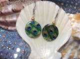 Peacock printed shell and glass Pearl handmade earrings