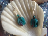 Teal and burgundy Lampglass handmade earrings