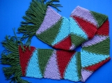 Lady's Multi-Colored Hand-Knitted Wool Scarf
