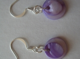 Purple Dyed Mother of Pearl Coin Dangle Earrings