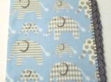 Blue elephant fleece baby blanket with crochet edge