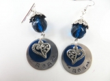 Hand stamped blue heart mom earrings