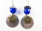 Hand stamped blue nana earrings