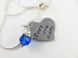 Mini hand stamped - love you more - necklace