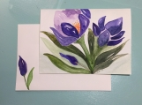 Abstract Purple Flowers Hand-painted Watercolor Greeting Card