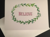 Believe Wreath Hand-painted Watercolor Greeting Card