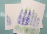 Blue Stalk Flowers Matthew 5:8 Hand-painted Card