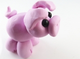 Clay pink pig  sculpture figurine