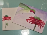 Hummingbird on Red Flower Watercolor Hand-painted card