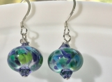Lovely Lampwork Glass Bead Blue Shade Earrings
