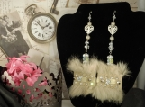 Reversable Fur Heart Earrings Set