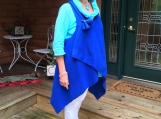 Royal blue fleece wrap vest and flower pin