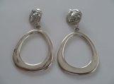 Swirly Flat Round Hoop Clip On Earrings