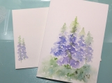 Tall Blue Flowers Matthew 5:8 Hand-painted Card