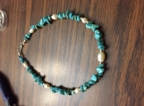 Turquoise Chip and Pearl Choker