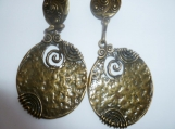 Bronze Swirly Textured Round Dangle Clip-On Earrings
