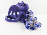 Clay glitter purple dragon with girl's cha cha bracelet