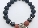 Lava, Magnetic Hematite, Red Jasper and a Tibetan Silver Horse
