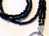 "36"" Black Beaded Lanyard"