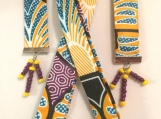 "39"" African Ankara Fabric Lanyard & Earrings"