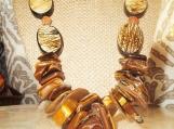 Chunky Tigers Eye Necklace, Oval Bone, Bodhi Seed Beads, Ethnic