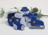 Country Blue Christmas Tree Ornaments