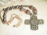 Cowgirl Fancy Cross Necklace, Large Beads, Chain, Trendy Gift