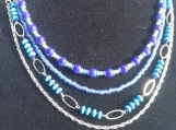 4 row blue beaded necklace