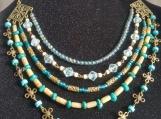 5 row green & earthy beaded necklace