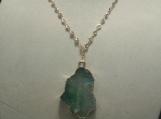 Aqua Pendent Gold Gem Necklace