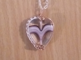 Czech Heart Pendant with Copper/Silver Plate Wire